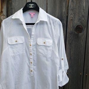 Lily Pulitzer White Half Button Cotton Top